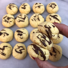 Sugar Free Sugar Cookies with drizzled chocolate