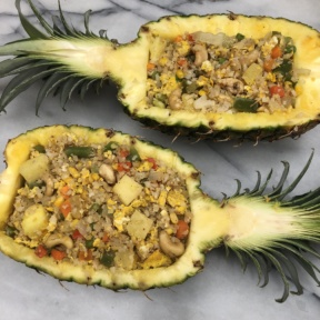 Dairy-free Cauliflower Fried Rice in Pineapple Boats