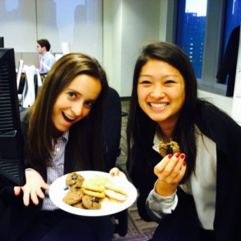 Jackie eating gluten-free cookies at office
