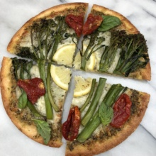 Lemon Broccolini on Pesto Pizza