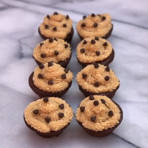 Gluten-free dairy-free Brownie Bites with Peanut Butter Frosting