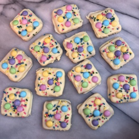 Gluten-free Easter Chocolate Bark with Schar honeygrams and M&M's