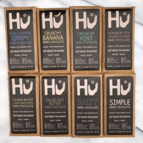 All eight flavors of gluten-free paleo chocolate from Hu Kitchen