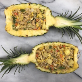 Cauliflower Fried Rice in Pineapple Boats