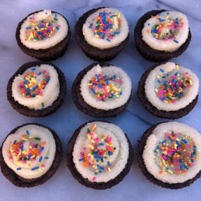 Sprinkle Filled Brownie Cupcakes