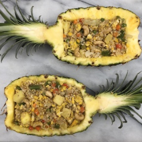 Cauliflower Fried Rice in Pineapple Boats with cashews