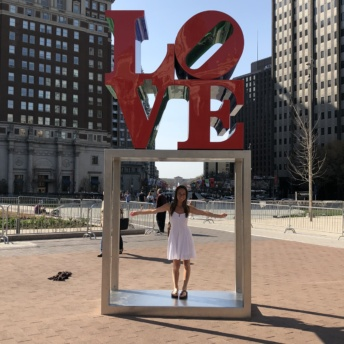 Jackie at Love Park in Philly