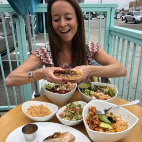 Jackie eating the guiltless burrito at Tocaya
