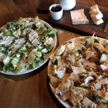Salads, cheese, and wine at Root Restaurant
