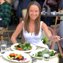 Jackie eating a gluten-free lunch at Parc Restaurant