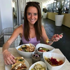 Jackie eating at Tocaya Organica