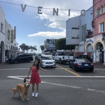 Jackie & Odie at Venice Sign
