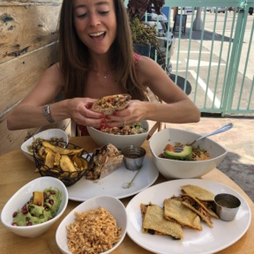 Jackie eating at Tocaya in LA