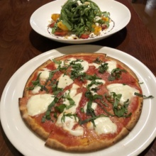 Gluten-free pizza and salad from Ella's Pizza