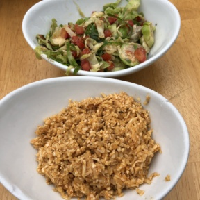 Cauliflower rice and brussels sprouts from Tocaya