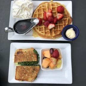 Gluten-free waffle and sandwich from Tryst