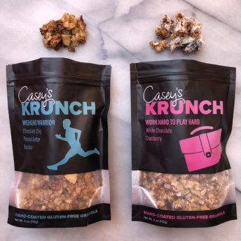 Gluten-free granola coated in white chocolate by Casey's Krunch