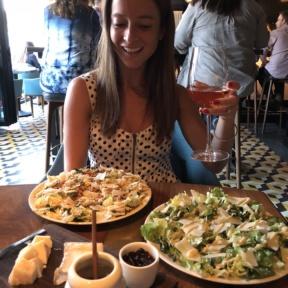 Jackie eating dinner at Root Restaurant