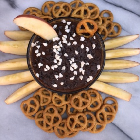 Brownie Batter Dip with fruit and GF pretzels