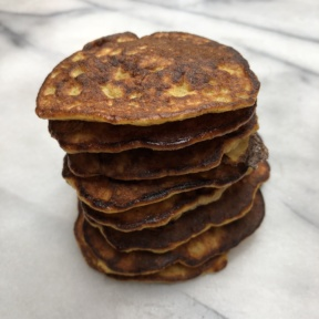 Stack of gluten-free Paleo Spiced Banana Pancakes