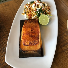Gluten-free salmon entree from California Pizza Kitchen
