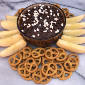 Brownie Batter Dip with pretzels and apples