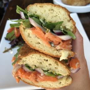 Gluten-free salmon sandwich from Senza Gluten Cafe & Bakery