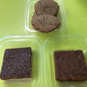 Gluten-free blondie, crack bar, and cookies from Hu Kitchen