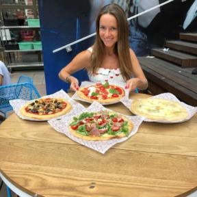 Jackie enjoying pizza at Ribalta Mo