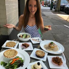 Jackie in awe of food at Petunia's Pies & Pastries