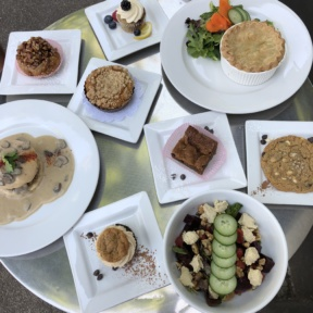 Gluten-free vegan lunch spread from Petunia's Pies & Pastries