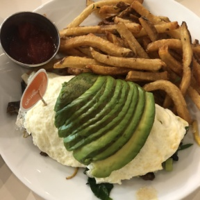 Gluten-free omelette and fries from Friedman's