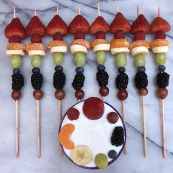 Rainbow Fruit Skewers with yogurt
