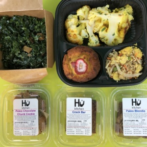 Gluten-free paleo baked goods and veggies from Hu Kitchen