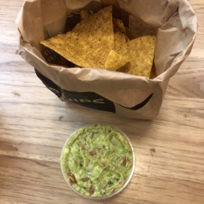Gluten-free guac and chips from Dos Toros