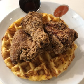 Gluten-free fried chicken and cheddar waffle from Friedman's