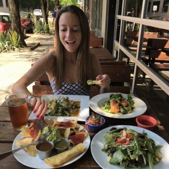 Jackie eating at Verde Cocina