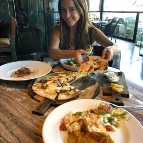 Jackie and her cheesy gluten-free pizza at No. 10 Restaurant