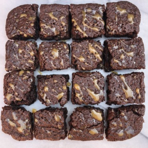 Batch of gluten-free Salted Caramel Drizzled Brownies