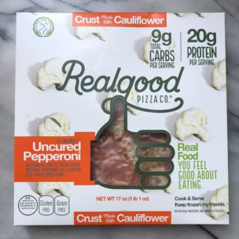 Gluten-free pepperoni cauliflower pizza from Real Good Foods