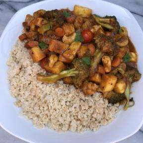 Gluten-free Vegetarian Curry with cauliflower rice