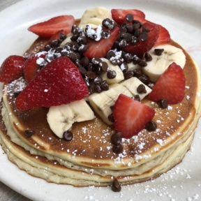 Stack of gluten-free pancakes from Jinky's Cafe