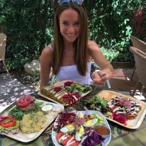 Jackie eating lunch at Food Harmonics