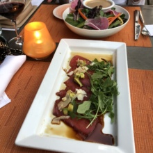 Gluten-free tuna carpaccio and salad from 1212 Santa Monica