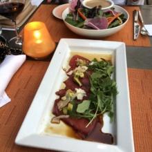 Gluten-free tuna carpaccio and salad from 1212 Santa Monica