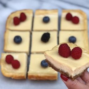 Gluten-free Cheesecake Bars with berries