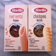 Gluten-free chickpea casarecce and red lentil penne from Barilla