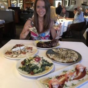 Jackie eating at Cafe del Rey in MDR