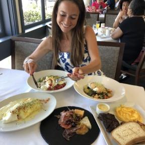 Jackie eating brunch at Cafe del Rey