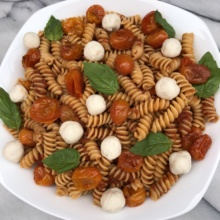 Gluten-free dairy-free Caprese Pasta